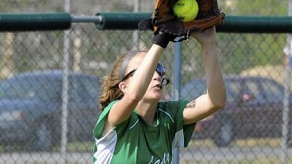 Sto-Rox's Kayla Cropper pulls in a fly ball last Thursday in what was coach Bill Palermo's 700th game at the helm.