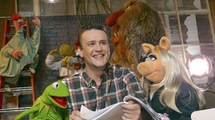 "Kermit the Frog, Jason Segel and Miss Piggy work together in ""The Muppets,"" one of the free films in the Dollar Bank Cinema in the Park series."