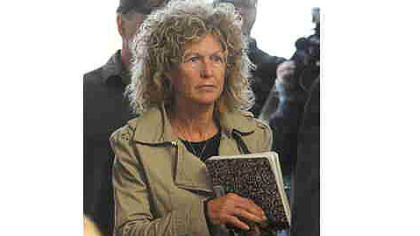 Marian Thompson, widow of Terry Thompson, enters a hearing April 23 in Reynoldsburg, Ohio.