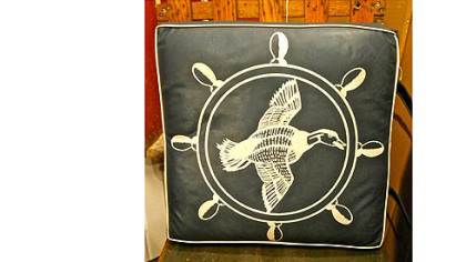 Vintage 1950s blue duck boat cushion for $145 from Genesee River Trading Co.