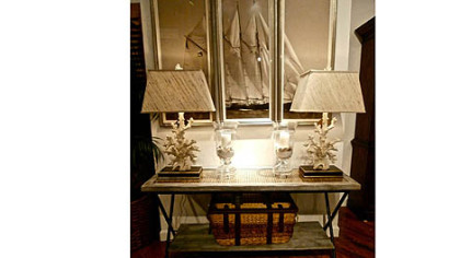 Barclay Butera coral lamps and console.