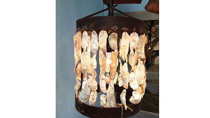 Low Country's Oyster shell hanging drum lantern.