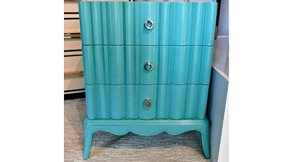 Lexington Home Brands aqua lacquer side chest.