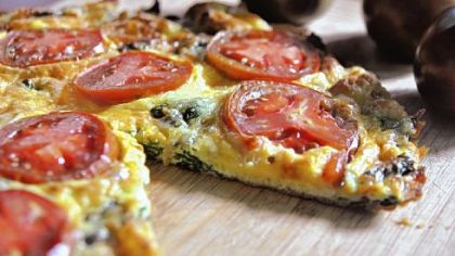 Swiss chard and Swiss frittata with tomatoes.