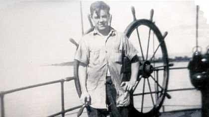 Gerald Driscoll aboard the S.S. Fisher Hill, a tanker, during World War II.