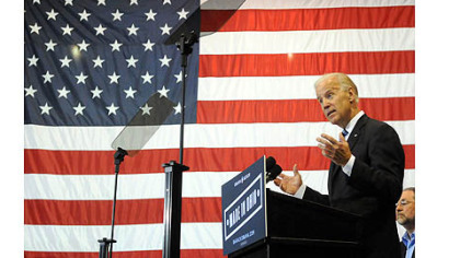 Vice President Joe Biden attacks Mitt Romney's economic policies and his management past during a campaign appearance at M7 Technologies in Youngstown, Ohio.