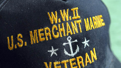 Gerard Driscoll always wears his Merchant Marine cap when he leaves home. He served in the Merchant Marine during World War II.