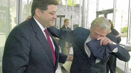 Retired U.S. Rep. Bud Shuster, right, congratulates his son, Bill, in 2001 for clinching the Republican nomination to fill the elder Mr. Shuster's 9th District seat. Bill Shuster will follow in his father's footsteps again if he is named chairman of the House Transportation and Infrastructure Committee.