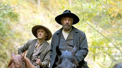 "Matt Barr, left, and Kevin Costner in ""The Hatfields and the McCoys"""