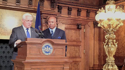 Recently retired Steelers great Hines Ward is recognized by Pennsylvania governor Tom Corbett and the legislature today in Harrisburg.