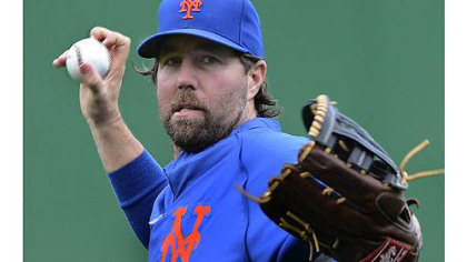 Mets pitcher R.A. Dickey during afternoon workouts Monday.