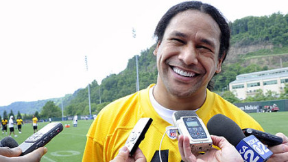 Troy Polamalu answers questions on the first day of organized team activities at the Steelers' South Side facility.