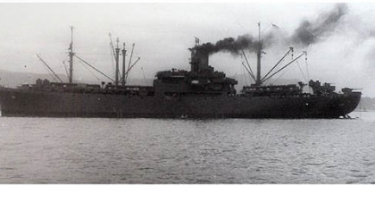 The U.S.S. Sangay AE-10, an ammunition and explosives ship, that World War II veteran John Clifford served on along with Mel Zimmermann.