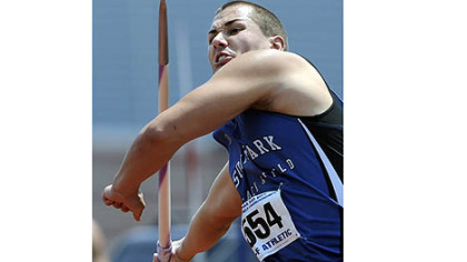 "South Park's Bill Stanley breaks the javelin national record with a throw of 246'9"" on his first throw at the PIAA track and field championships at Shippensburg University Saturday."