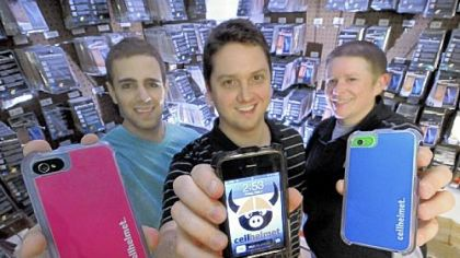 From left, Dave Artuso, Michael Kane and Bryan McHenry hope their Greensburg-based company, cellpig.com, will take off with its new product, cellhelmet, a rugged case for Apple's iPhone.