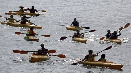 Kayaking on the Allegheny River was part of the Venture Outdoors Festival 2012 last weekend in Point State Park, one of the first harbingers of an active summer.