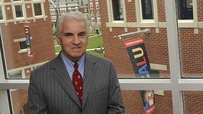 Angelo Armenti Jr., the former president of California University of Pennsylvania, inside Duda Hall overlooking the campus.