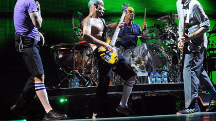"The Red Hot Chili Peppers converge for ""Dani California"" - from left, Anthony Kiedis, Flea, Chad Smith and Josh Klinghoffer."