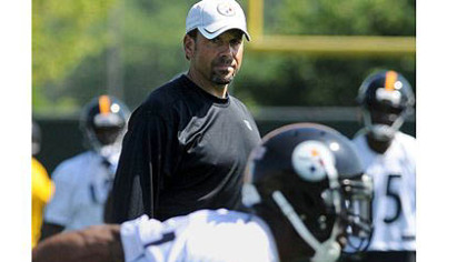 Steelers new offensive coordinator Todd Haley during practice at the Steeler&#039;s South Side facility.
