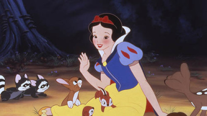 "Having lost her way in the forest, Snow White is befriended by animals in this scene from Walt Disney's first animated cartoon feature, ""Snow White and the Seven Dwarfs."""