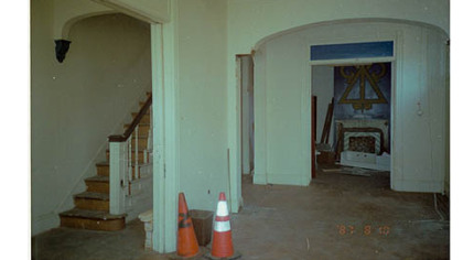 The living room before restoration.