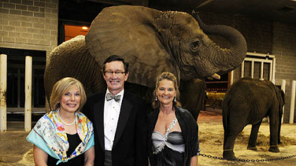 Becky and Tom McGough and zoo director Barbara Baker.