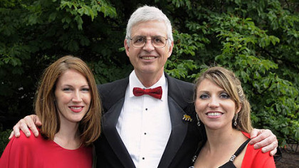 Pat Loughney with his daughter-in-laws Rebecca, left, and Jessica.