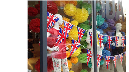 A shop window in London's Belgravia neighborhood decorated for the Jubilee.