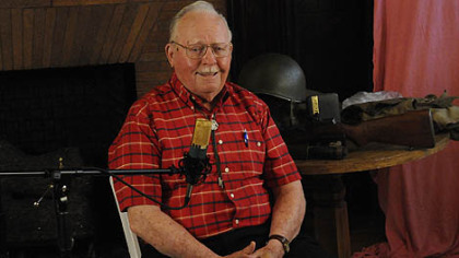 WWII veteran Warren Goss, 87, of Ohio Township shares his memories at Soldiers & Sailors Memorial Hall and Museum.