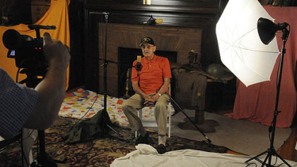 World War II veteran Frank Gervasi, 92, of Vandergrift records his story at Soldiers & Sailors Memorial Hall and Museum.