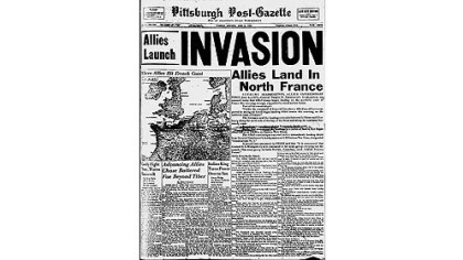 Front page of the Pittsburgh Post-Gazette from June 6, 1944.