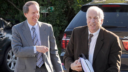 Jerry Sandusky, right, and his attorney, Joe Amendola, arrive Wednesday at the Centre County Courthouse for the second day of jury selection.
