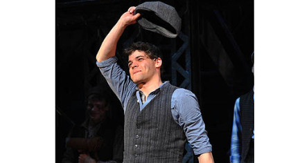 "Actor Jeremy Jordan takes a curtain call at ""Newsies."""