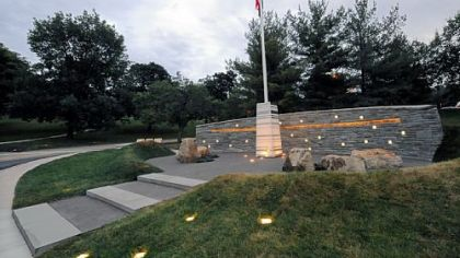 The newly dedicated veterans memorial in Mt. Lebanon includes an obelisk inscribed with the names of Mt. Lebanon residents who died in the service during World War I, World War II and the Vietnam War.