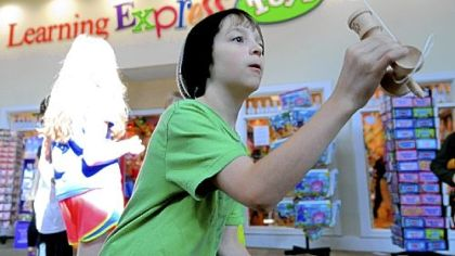 Stephen Donahey, 11, plays a Japanese cup-and-ball game called kendama at the Galleria of Mt. Lebanon mall. He took part in a kendama tournament in Atlanta in November.