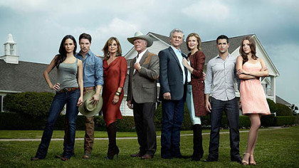 Jordana Brewster, Josh Henderson, Linda Gray, Larry Hagman, Patrick Duffy, Brenda Strong, Jesse Metcalfe and Julie Gonzalo star in &quot;Dallas,&quot; which premieres at 9 p.m. Wednesday on TNT.