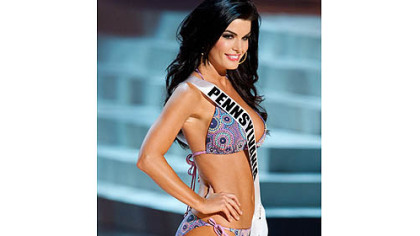 Happier times: Sheena Monnin in the 2012 Miss USA Presentation Show on May 30 in Las Vegas.