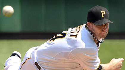 Pirates starter A.J. Burnett pitched 7 1/3 innings and allowed two runs on five hits, throwing 71 of his 107 pitches for strikes.