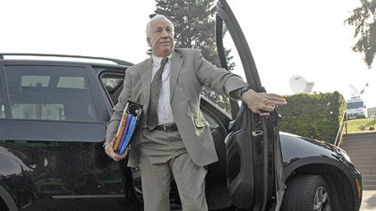 Jerry Sandusky arrives Monday morning for the beginning of his trial at the Centre County Courthouse in Bellefonte.