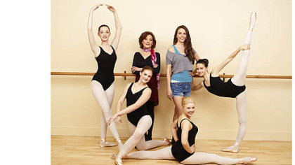 The &quot;Bunheads&quot; cast includes, from left, back: Emma Dumont as Melanie, Kelly Bishop as Fanny, Sutton Foster as Michelle and Julia Goldani Telles as Sasha; front: Kaitlyn Jenkins as Boo and Bailey Buntain as Ginny.