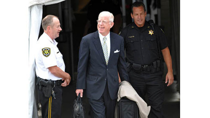 Judge John M. Cleland leaves the Centre County Courthouse after  the second day of testimony in the Jerry Sandusky trial.