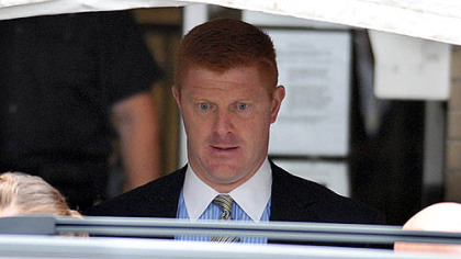 Penn State assistant football coach on leave Mike McQueary leaves the Centre County Courthouse after testifying for two hours in the second day of testimony in the Jerry Sandusky trial.