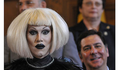 Sharon Needles, left, with members of Pittsburgh City Council Bruce Kraus (upper left) Darlene Harris (upper right) and Bill Peduto (lower right).