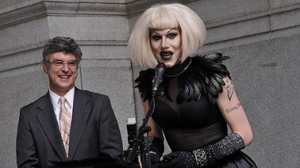 After having a proclamation read in City Council proclaiming June 12, 2012 as Sharon Needles Day in Pittsburgh, Needles speaks on the portico of the City-County Building before performing for her fans,. At left is Councilman Patrick Dowd, who sponsored the proclamation.