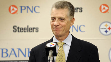 Steelers&#039; team president Art Rooney II talks talks to reporters after the NFL and players association ended the lockout in July 2011.