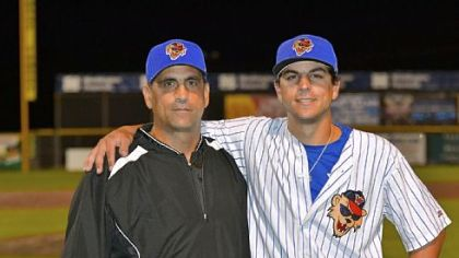 Chris Bando, left, manager of the Washington Wild Things, and his son Michael Bando, Wild Things first baseman.