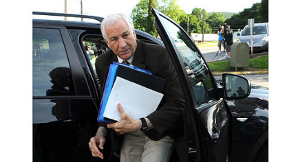 Former Penn State University assistant football coach Jerry Sandusky arrives for the fourth day of his trial at the Centre County Courthouse.