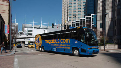 The Megabus stop has been moved to Gateway Center.