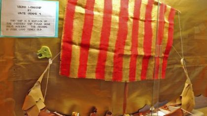 Fourth-grade students at West View Elementary School made a 1.22-meter replica of a Viking longboat.