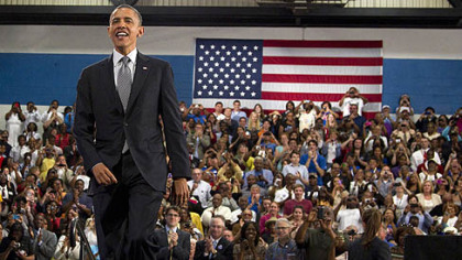 President Barack Obama arrives Thursday to speak at Cuyahoga Community College in Cleveland.